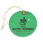 1966 Masters Tournament Thursday Ticket #3199-Jack Nicklaus 3rd Masters Win!