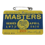 1973 Masters Tournament Series Badge #4939 - Tommy Aaron Winner
