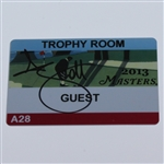 Adam Scott Signed 2013 Masters Trophy Room Guest Badge #A28 JSA ALOA