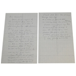 Ben Hogans Handwritten Notes for Letter to Host Course Carnoustie After 1953 Open Win