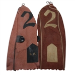 Two B.H. Initialed 2 Wood Leather Head Covers From Ben Hogan Collection