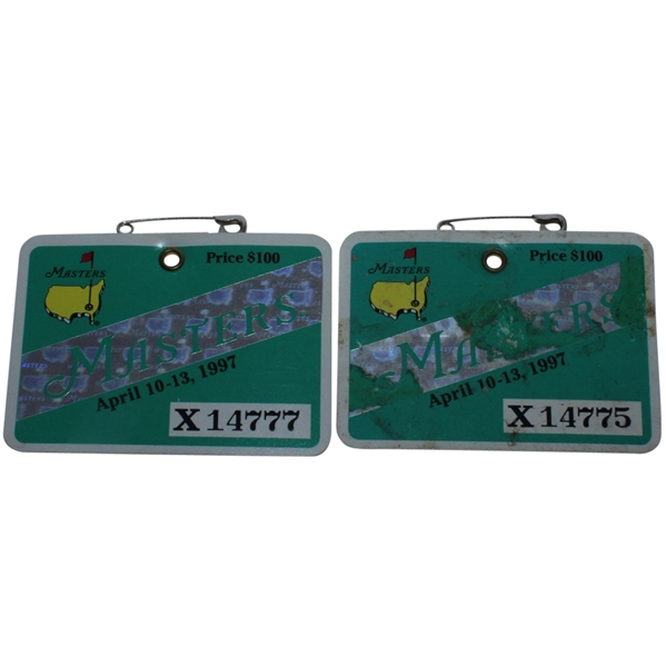 Two 1997 Masters Series Badges #X14775 & X14777 - Tiger Woods Wins