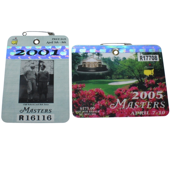 2001 & 2005 Masters Series Badges - Tiger Woods Wins