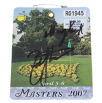 Zach Johnson Signed 2007 Masters Series Badge #R01945 with Inscription JSA ALOA