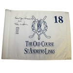 Tom Watson Signed & Win Notated St. Andrews Old Course Links Flown Flag W/Heavy Use- JSA ALOA