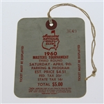 1960 Masters Tournament Saturday Ticket #3649 - Arnold Palmers 2nd Masters Win