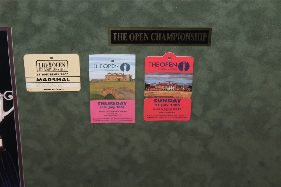 Tickets/Badges from ALL Tiger Woods Major Victories with Signed UDA 8x10 Photo - Framed
