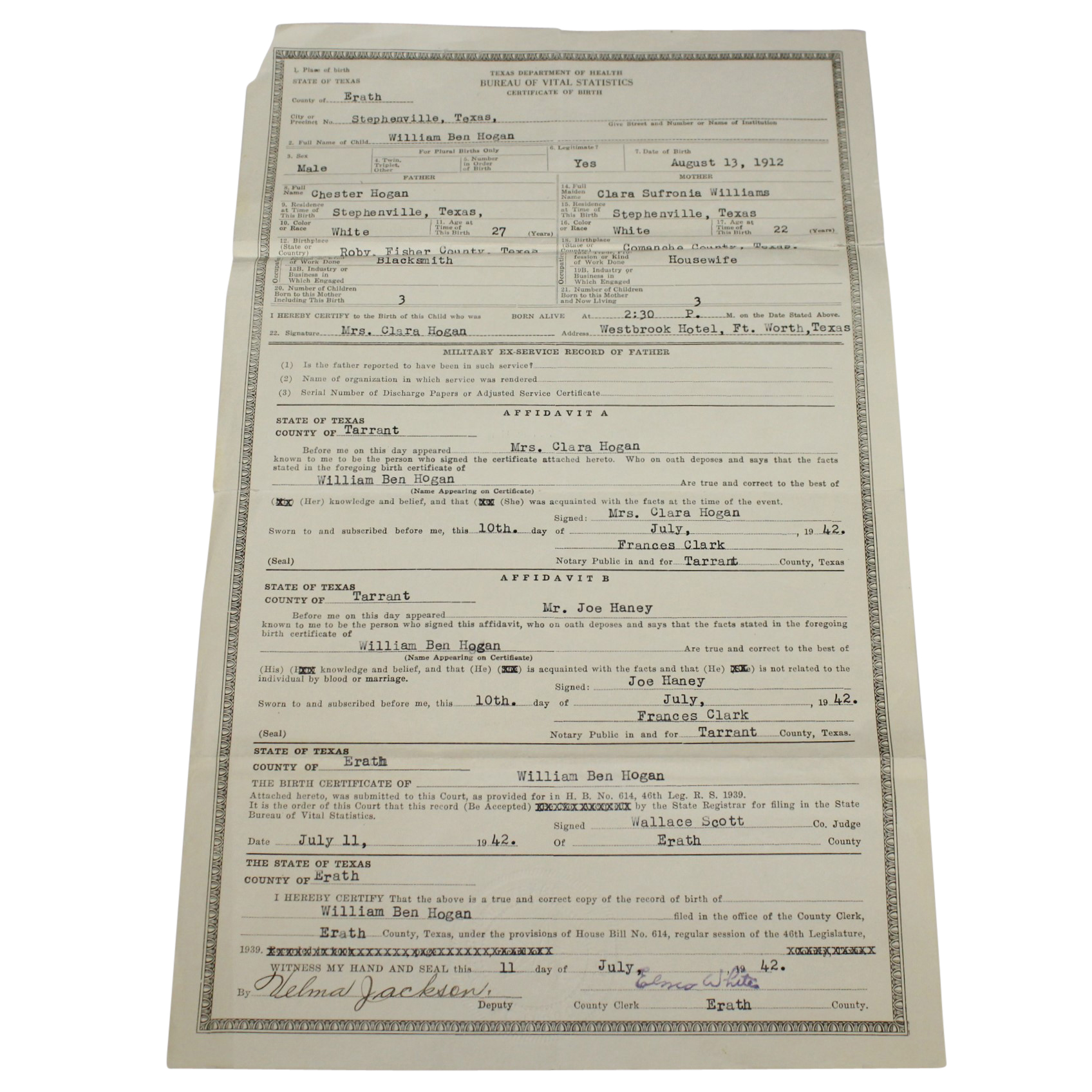 Lot Detail Ben Hogans Personal 1942 Texas Dept Of Health Record