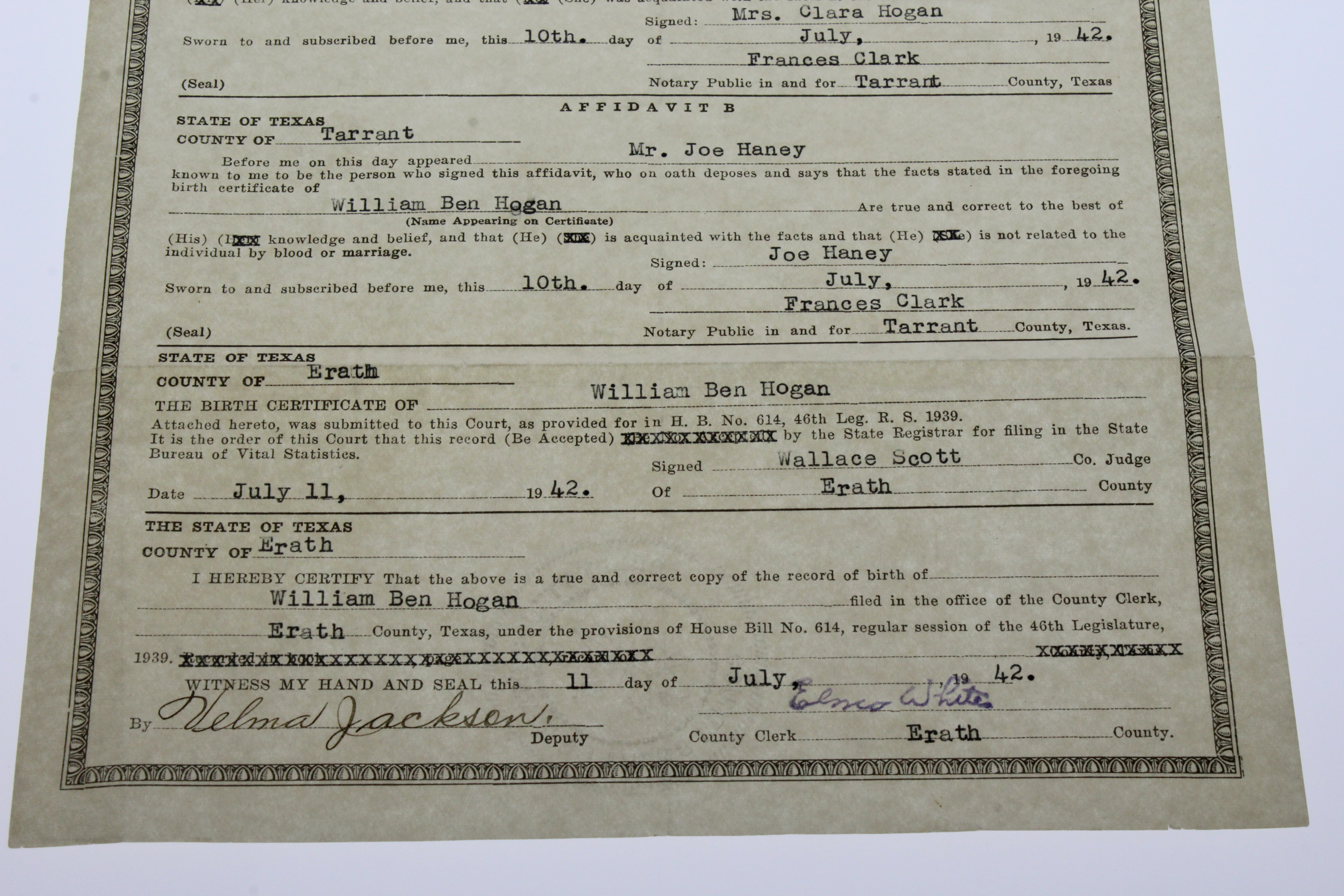 Lot detail ben hogans personal 1942 texas dept of health ben hogans personal 1942 texas dept of health record of birth birth certificate 8 aiddatafo Choice Image