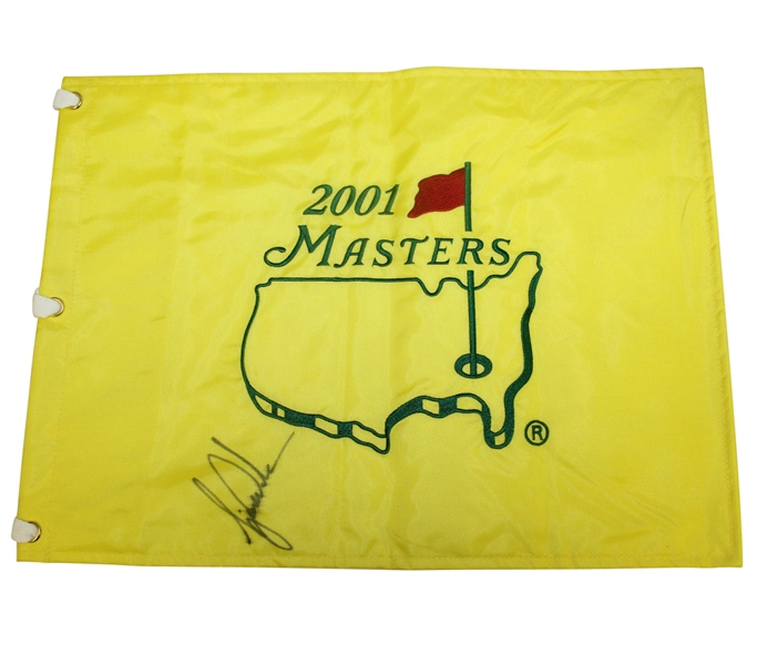 Tiger Woods Signed 2001 Masters Embroidered Flag - Tiger Slam (4/4) JSA ALOA