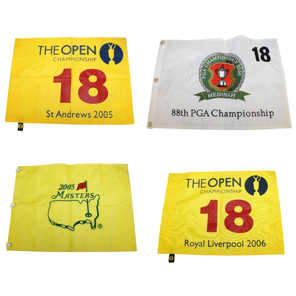 Flags from Tiger Woods Major Victories - 2005 Masters, 2005 & 2006 Open, & 2006 PGA