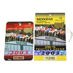 2003 Masters Tournament Badge #R11643 with Monday Ticket #Y12185 - Mike Weir Winner