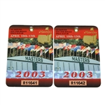 2003 Masters Tournament Badges #R11641 & #R11642 - Mike Weir Winner