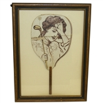 1904 Vintage Hand Fan Depicting Female Golfer and 4th Hole - Framed