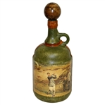 Vintage Fausto Conturi Italian Leather Wrapped Golf Themed Jug Decanter with Stopper
