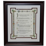 The Golfers Creed Display by David Forgan - One of a Kind Presentation - Framed