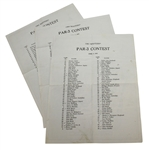 1983, 1984, & 1985 Masters Tournament Par-3 Contest Pairing Sheets - Roth Collection