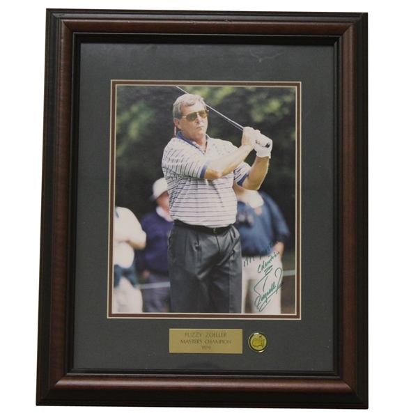 Fuzzy Zoeller Signed Masters Shot Display with Notation - Framed JSA ALOA