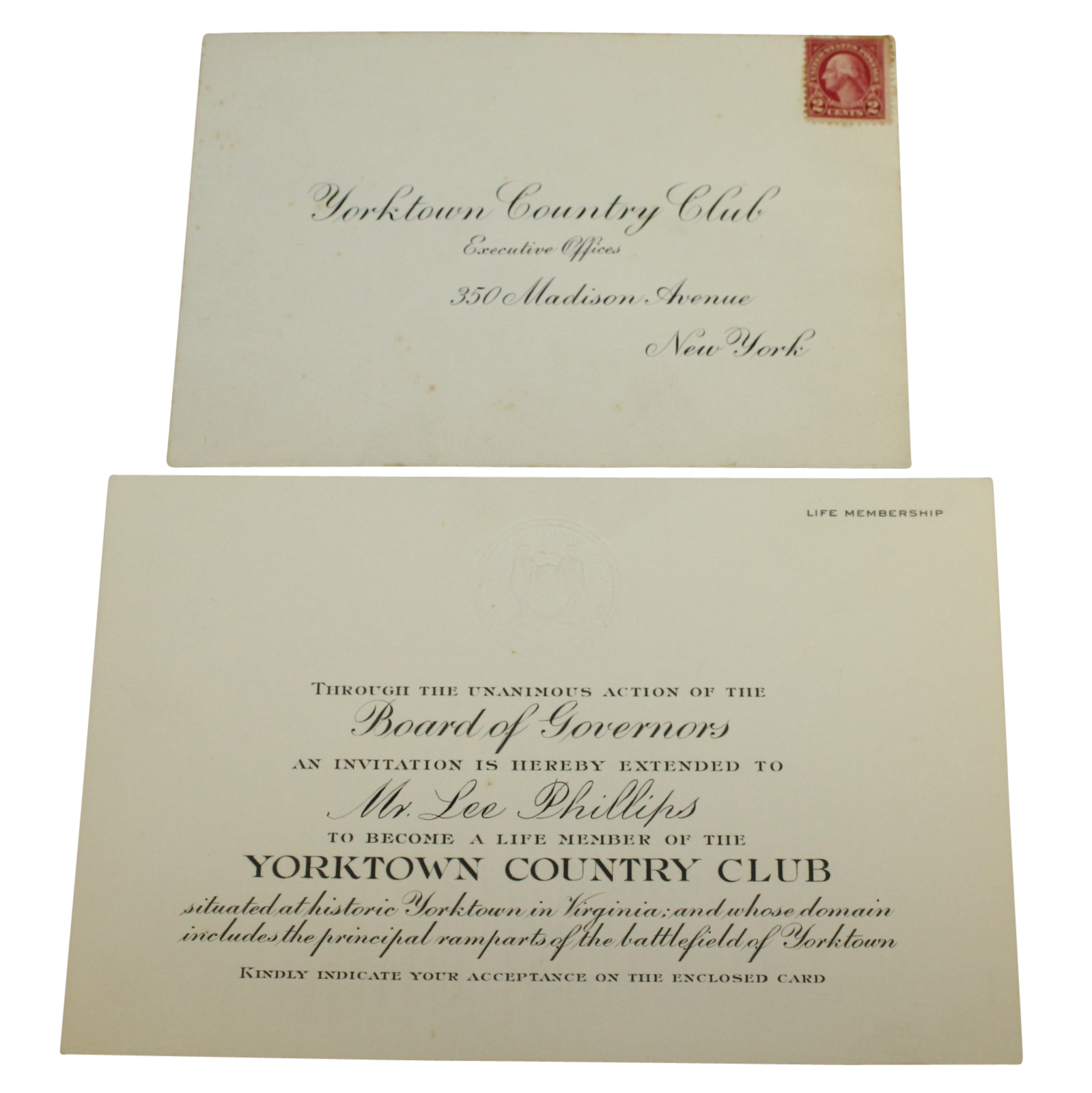 Lot detail yorktown country club lifetime membership official yorktown country club lifetime membership official invitation stopboris Choice Image