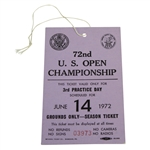 1972 US Open at Pebble Beach 3rd Practice Day Ticket #03973 - Jack Nicklaus Win