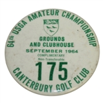 Deane Bemans 1964 US Amateur Championship Grounds & Clubhouse Badge-Canterbury G.C., Cleveland