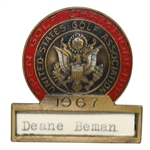 Deane Bemans 1967 US Open at Baltursol Contestant Badge - Jack Nicklaus Winner