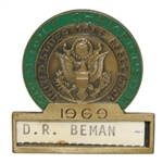 Deane Bemans 1969 US Open at Champions GC Contestant Badge - Orville Moody Winner