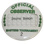 Deane Bemans 1992 Masters Tournament Official Observer Badge #2 - Fred Couples Winner