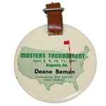 Deane Bemans 1971 Masters Tournament Contestant Bag Tag - Charles Coody Winner