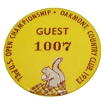 Deane Bemans 1973 US Open at Oakmont Guest Badge #1007 - Johnny Miller Winner