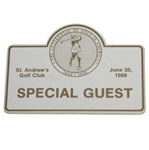 Deane Bemans 1988 St. Andrews Golf Club Special Guest Badge - Centennial of Golf in America