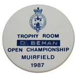 Deane Bemans 1987 Open Championship at Muirfield Trophy Room Badge - Nick Faldo Winner