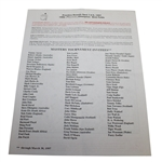 1997 Masters Tournament Practice Round Pairing Sheet - Tiger Woods Win