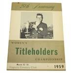 1959 Womens Titleholders 20th Anniversary Championship at Augusta CC Program