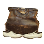 Jerome D. Travers 1930s Leather Valise and White Shoes