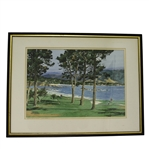 Pebble Beach Scene - 18th Green Original Watercolor by James March Phillips - Framed