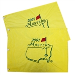 2001 & 2005 Masters Embroidered Flags - Tiger Woods Winner