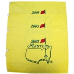 Three 2005 Masters Embroidered Flags - Tiger Woods Winner - Jacks Final Masters