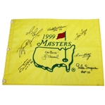 Michael Jordan & Other Sports Legends Signed 1999 Masters Embroidered Flag JSA #Z76605