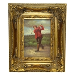 Classic Oil on Wood Golfer Swinging Art Piece - Unmarked & Unsigned - Deluxe Framed