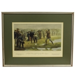 1931 Currier & Ives The First Amateur Golf Championship Print - Framed