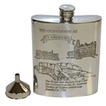 St. Andrews The Old Course Pewter 6oz Hip Flask Depicting Swilcan Bridge with Funnel