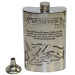 Muirfield Home of Edinburgh Golfers Pewter Flask with Course Layout - Good Condition with Funnel & Box