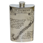 St. Andrews The Old Course Pewter Flask with Course Layout - Great Condition with Original Box