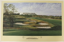 1995 Ltd Ed US Open at Shinnecock Hills 16th Hole Print Signed by Artist Linda Hartough 840/850 with COA