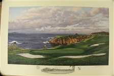 2000 Ltd Ed US Open at Pebble Beach 8th Hole AP Signed by Artist Linda Hartough 76/100 with COA