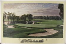 1996 Ltd Ed US Open at Oakland Hills 16th Hole Print Signed by Artist Linda Hartough 754/850 with COA