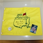 Bruce Devlin Signed 2011 Masters Flag with Real Tin Cup Notation & Signed Golf Ball JSA ALOA