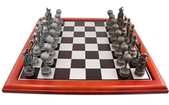 Golf Themed Chess Set - Golfers, Flags, Bags, Trophy Pieces with Wooden Chess Board