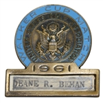 Deane Bemans 1961 Walker Cup Match Contestant Badge